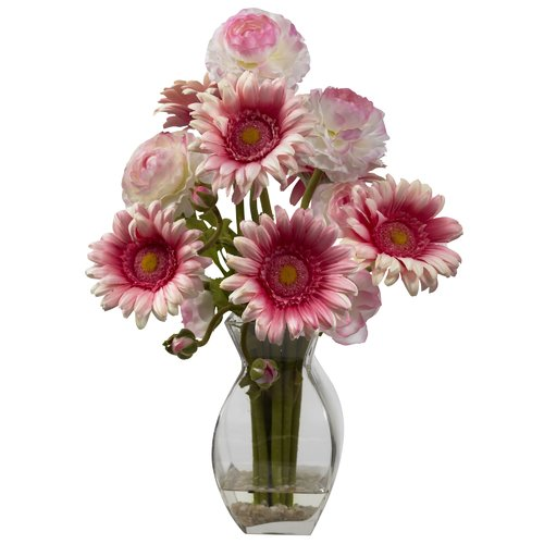 August Grove Gerber Daisy and Ranunculus Delight  Arrangement in Glass Vase
