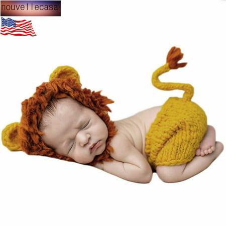Newborn Lion Costume (Fancyleo Baby Lion Crochet Hat  Pant Costume Photography Prop Outfits Fabulous)