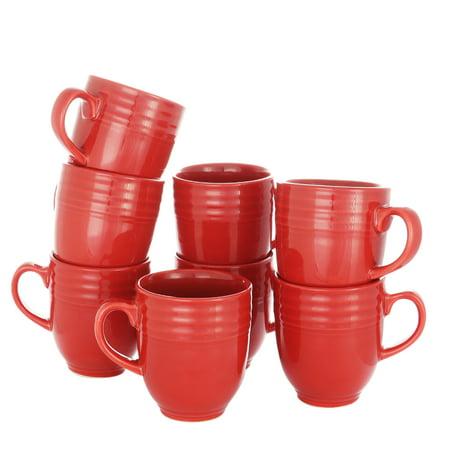 14 oz Mug Set in Red, Set of 8 14 Ounce Red Mug