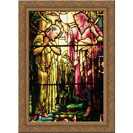 The Baptism of Jesus 19x24 Gold Ornate Wood Framed Canvas Art by Tiffany, Louis Comfort (Tiffany Baptism Gift)