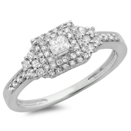 Dazzlingrock Collection 0.45 Carat (ctw) 14K Princess & Round Diamond Ladies Halo Engagement Ring 1/2 CT, White Gold, Size 8.5