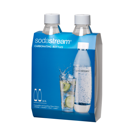 SodaStream 1 Liter Source Carbonating Bottle Twin Pack, White