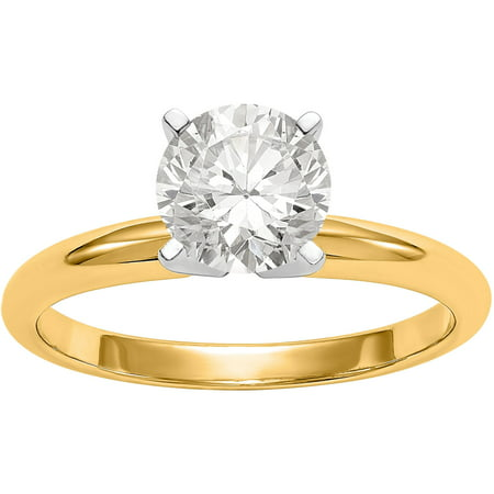 14ky .80 Carat 6.0mm Moissanite Solitaire Ring