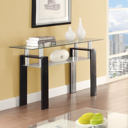 Coaster Furniture Glass Top Sofa Table with Glass Shelf