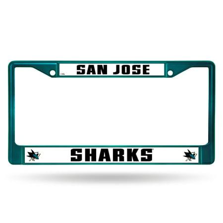 San Jose Sharks Nhl Licensed Aqua Painted Chrome Metal License Plate Frame