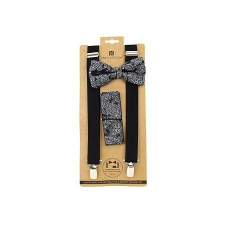 a414fcad36fe TheDapperTie - Men's Black Paisley 3 PC Banded Suspenders, Bow Tie and Hanky  Sets FYBTHSU8 - Walmart.com