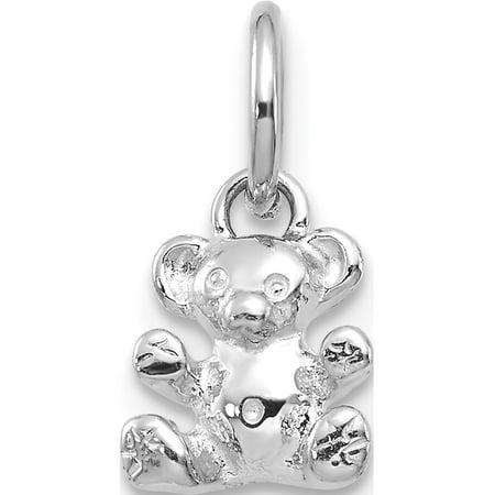 Leslies Fine Jewelry Designer 14k White Gold Teddy Bear (8x12mm) Pendant Gift