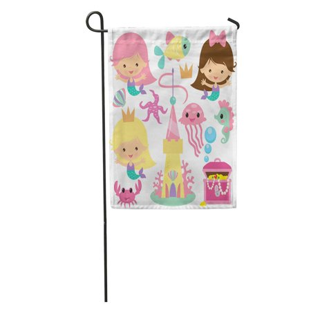 KDAGR Cute Mermaid Cartoon Seahorse Castle Children Crab Fish Funny Girl Garden Flag Decorative Flag House Banner 12x18 inch