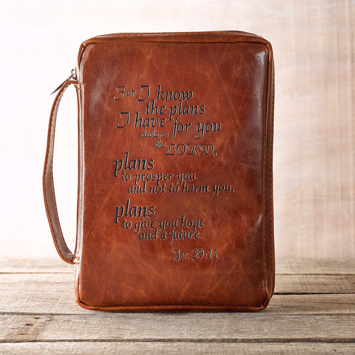 Bible Cover-I Know The Plans-Leather Look-Medium-Burgundy