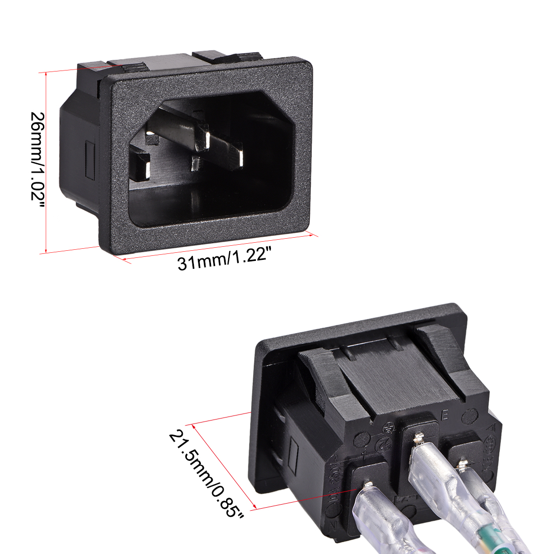 Panel Mount Plug Adapter AC 250V 10A C14 3 Pins Inlet Module Plug with 3 Wires - image 2 de 3