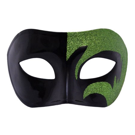 Black And Green Masquerade Mask (SeasonsTrading Mystic Green Glitter & Black Venetian Masquerade)