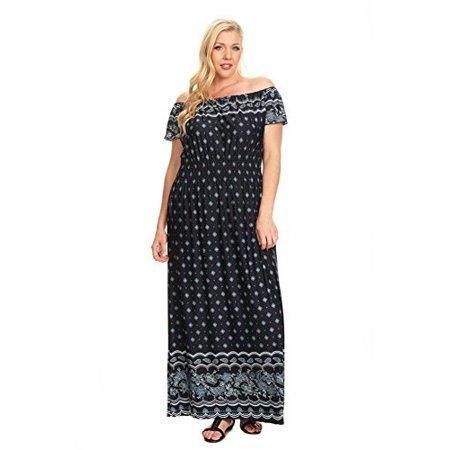 Mixed Paisley Off the Shoulder Plus Size Maxi Dress