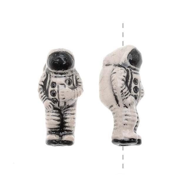 Glazed Ceramic Bead - Tiny Space Astronaut 8x17.5mm (2)