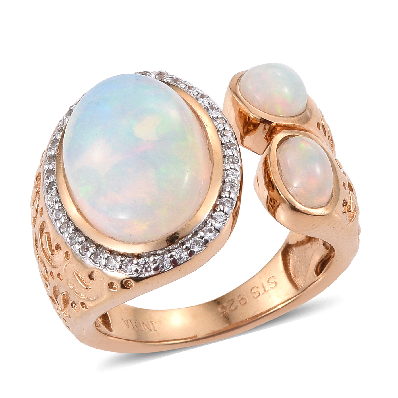 Opal, Zircon Yellow Gold Plated Silver Ring by Shop LC