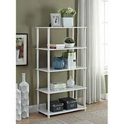 Mainstays No Tools 5 Shelf Standard Storage Bookshelf, Multiple Colors