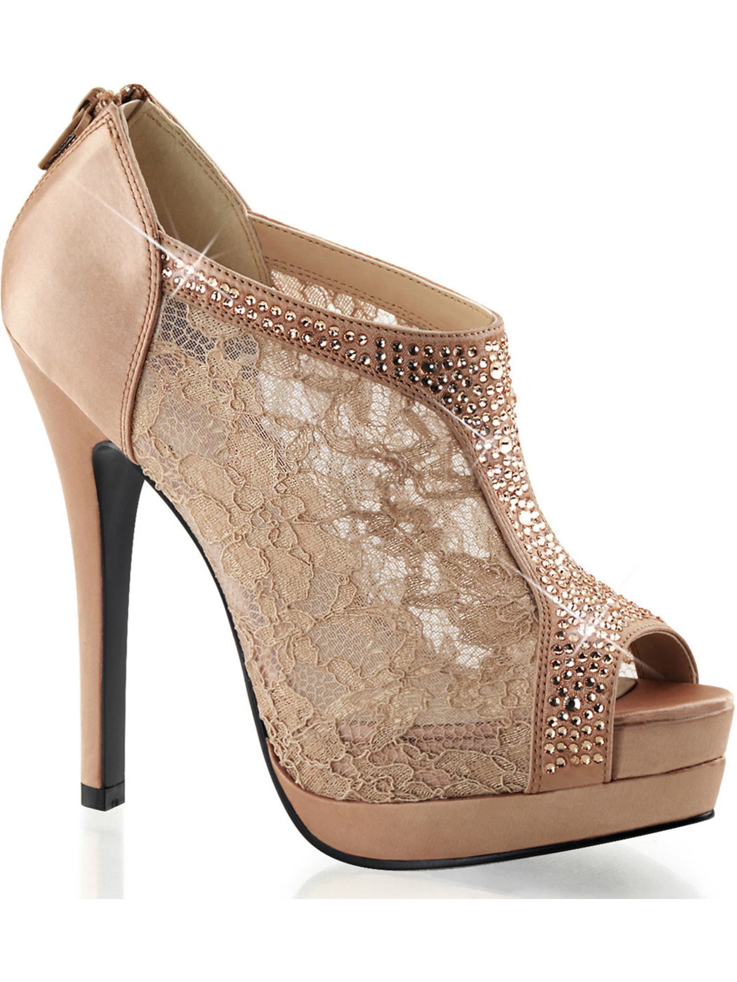 Womens Stunning Blush Satin and Lace Peep Toe Booties with Rhinestone Detail Size: 6