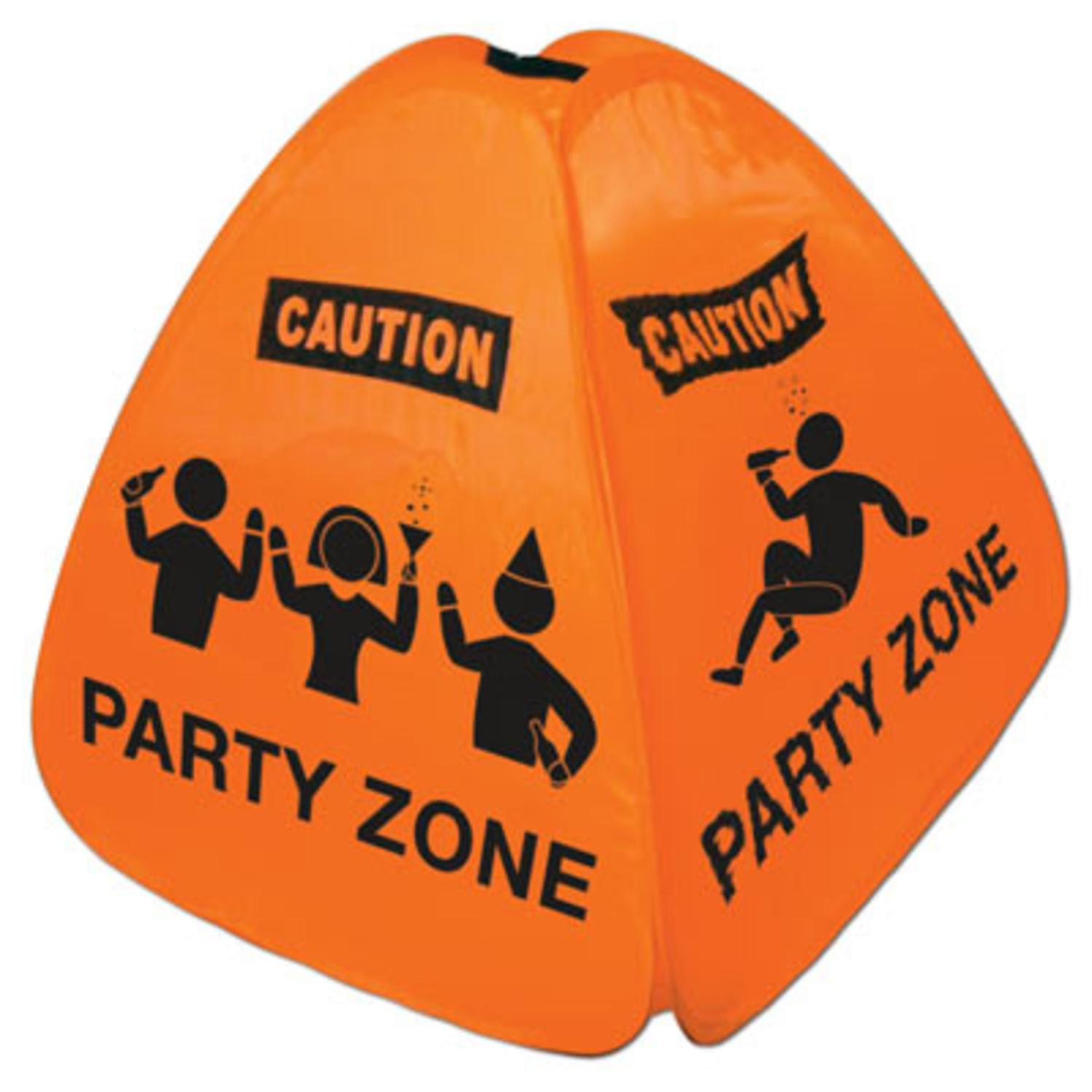 Pack of 12 Party Zone Orange Caution Cone Collapsible Pop...