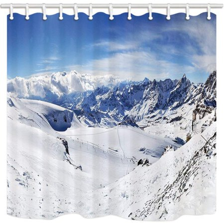 ARTJIA Scenery Himalaya Mountain Cold Extreme Climate Snow Slide Polyester Fabric Bathroom Shower Curtain 66x72 (Best Window Material For Cold Climates)