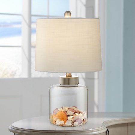 360 Lighting Nautical Accent Table Lamp Clear Glass Fillable Sea Shells Off White Linen Drum Shade for Living Room Bedroom Bedside ()