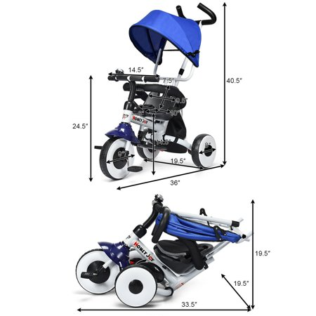 Gymax 4-In-1 Kids Baby Stroller Tricycle Detachable Learning Toy Bike - image 5 de 10