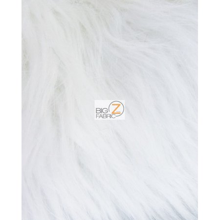 Faux Fake Fur Solid Gorilla Animal Long Pile Fabric / White / Sold By The Yard