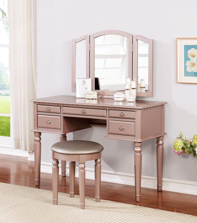 Bobkona St Croix 3 Fold Mirror Vanity Table With Stool Set Rose Gold Walmart Com Walmart Com