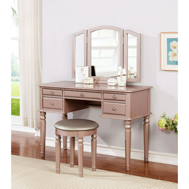 Bobkona St. Croix 3 Fold Mirror Vanity Table with Stool Set, Rose Gold