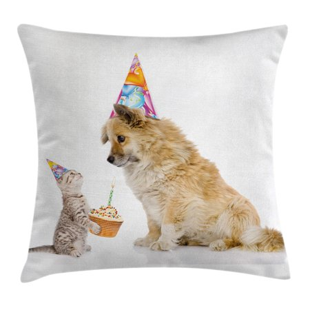 Birthday Decorations for Kids Throw Pillow Cushion Cover, Cat and Dog Human Best Friend Party with Cupcake and Candle, Decorative Square Accent Pillow Case, 16 X 16 Inches, Multicolor, by