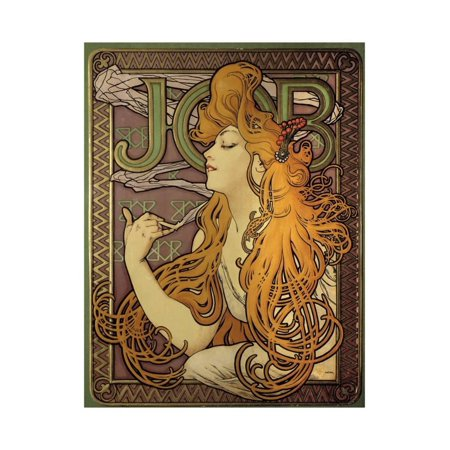 Vintage Advertising Paper - Poster Advertising the Cigarette Paper Job by Alphonse Mucha Print