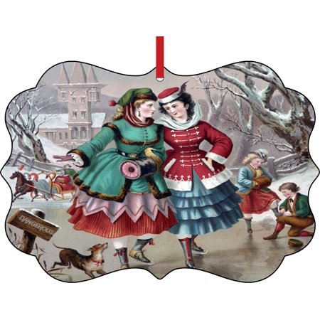 Ornaments Vintage Style Village Girls Ice Skating on the Lake Christmas Painting Elegant Semigloss Aluminum Christmas Ornament Tree Decoration - Unique Modern Novelty Tree Décor Favors](Girls Village)