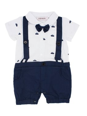 151d25005 Free shipping. Product Image StylesILove Sailor Boat Print Faux Suspender  Formal Wear Baby Boy Short Sleeve Romper (90/