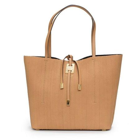 Michael Kors Collection Miranda Peanut Tan Large East West Tote Snake Leather Bag Handbag New Signature Tan Tote Handbag