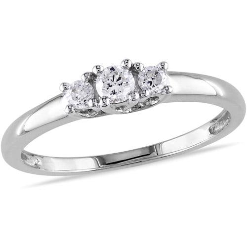 Miabella 1/4 Carat T.W. Diamond Three-Stone Engagement Ring in 14kt White Gold, IGL Certified