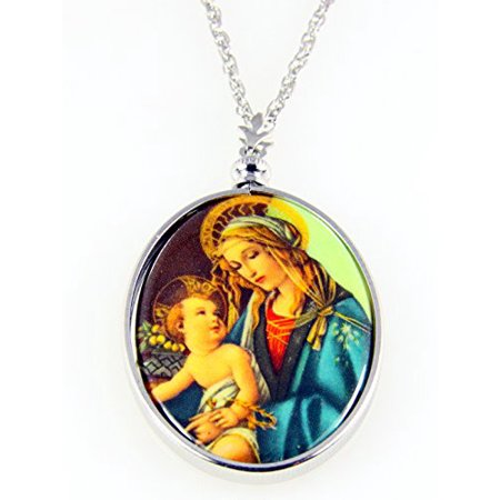Madonna & Baby Jesus Necklace Pendant Blessed Virgin Mother of - Baby Jesus Necklace