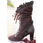 Women Lace Up Heel Knee High Leather Suede Boots