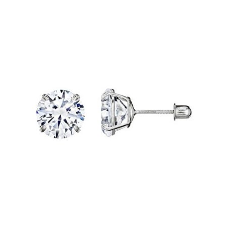 14kt Solid White Gold Superbright Clear Cz Basket Setting Round Screwback -