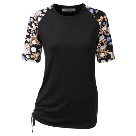 Doublju Women's Classic Fit Raglan Short Sleeve Round Neck Shirt BLACKPRINT M