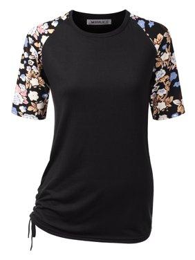 9e6eba0d7bf Product Image Doublju Women s Classic Fit Raglan Short Sleeve Round Neck  Shirt BLACKPRINT M