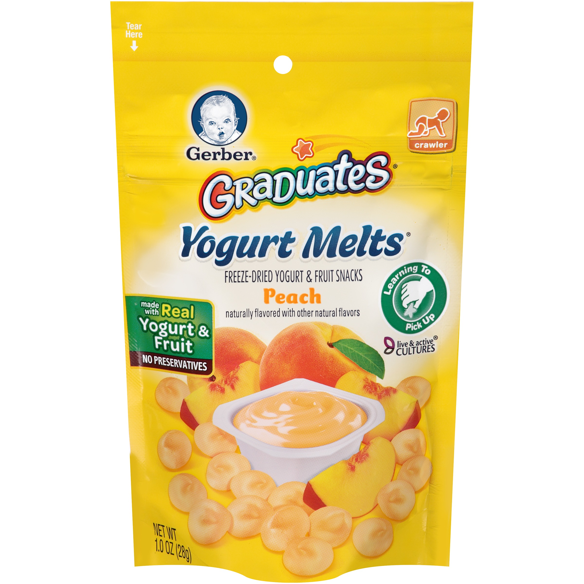 Gerber Graduates Yogurt Melts Freeze-Dried Yogurt & Fruit Snacks, Peach, 1 oz