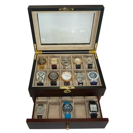 Ebony Wood Jewelry (20 Piece Ebony Walnut Wood Men's Watch Box Display Case Jewelry Box Glass Top)