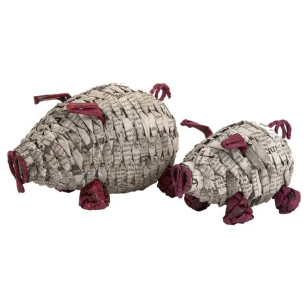 IMAX Paulina Recycled Newspaper Piggies Sculpture - Set of 2
