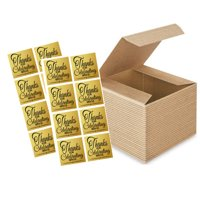 "12pack 4 x 4 x 3"" Kraft Brown Wedding Gift Candy & Party Favor Packaging Boxes with Sticker Seals"