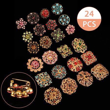 Vintage Rhinestone Flower Pin (TSV Fashion Lot 24pc Mixed Color Rhinestone Crystal Flower Brooches Pins for DIY, Wedding Decor, Bouquet Decor)