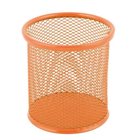 Office Metal Grid Round Shape Pens Ruler Container Holder Orange 3.7 Inch