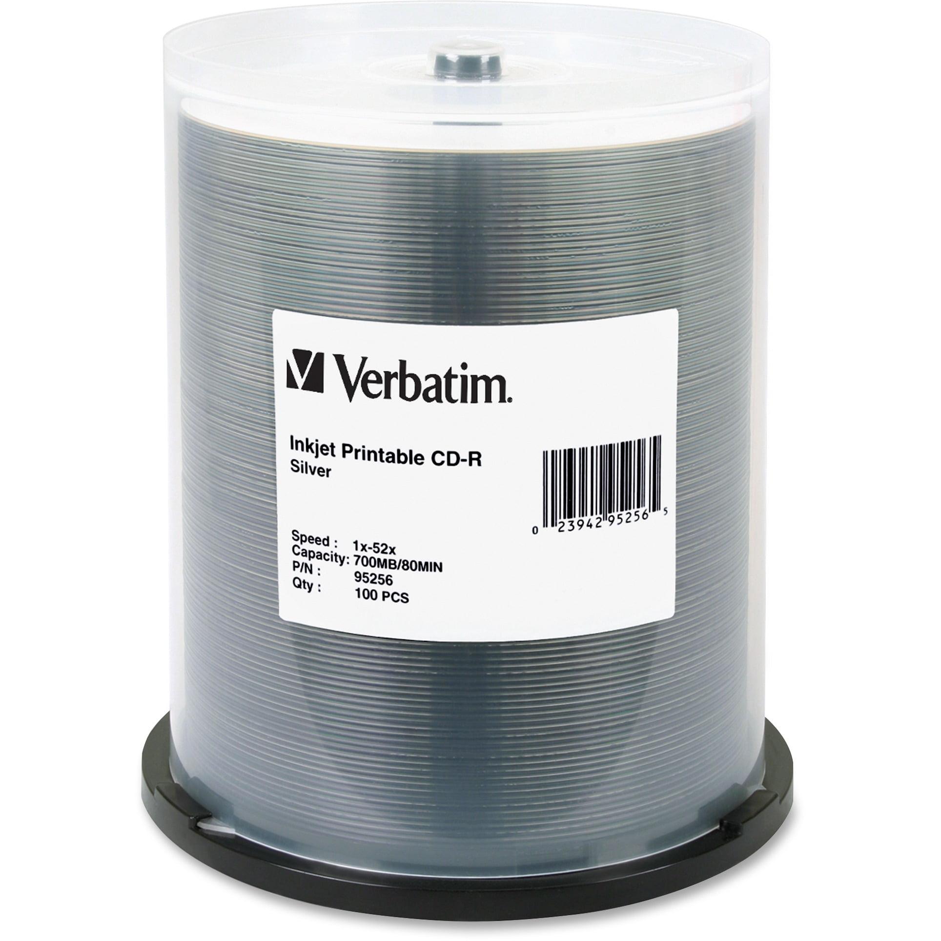 Verbatim, VER95256, Inkjet Silver Print CD-R Discs, 100, Silver
