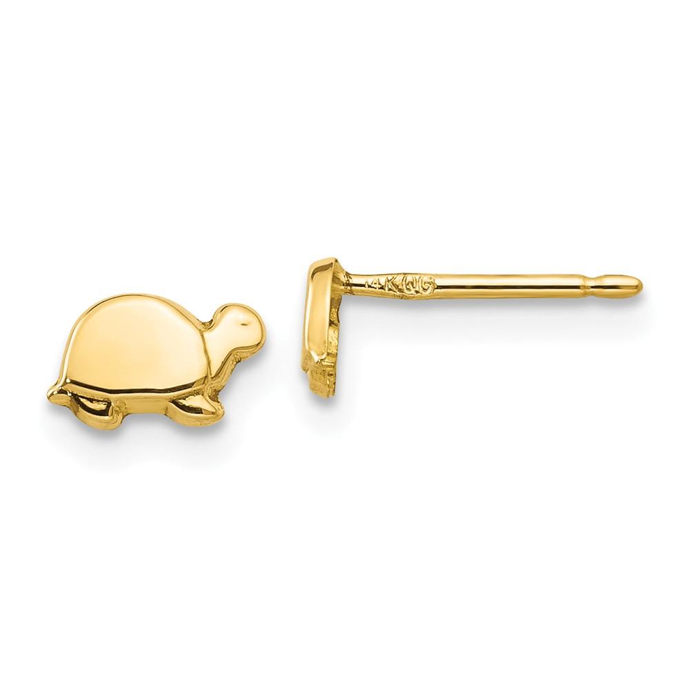 14k Yellow Gold Mini Turtle Post Stud Earrings (4MM Long x 7MM Wide)