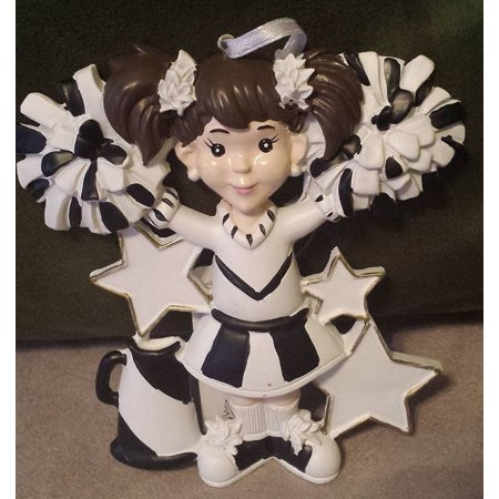 Cheerleader Black Uniform Personalized Christmas Ornament DO-IT-YOURSELF