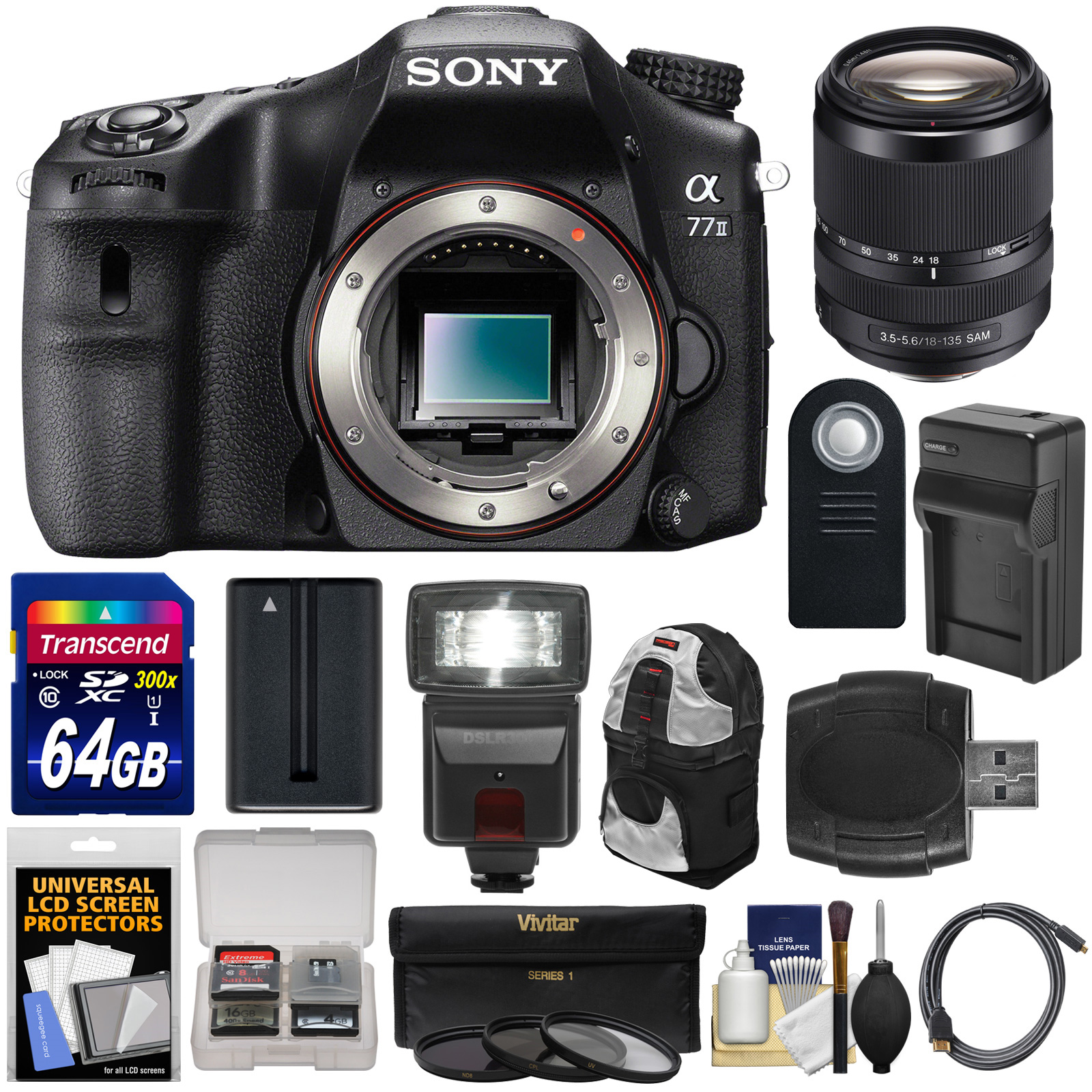 Camara Fotografica Semi Profesional Sony Alpha A77 II Wi-Fi Digital SLR Camera Body with 18-135mm Lens + 64GB Card + Battery + Charger + Backpack Case + Filters + Flash + Kit + Sony en VeoyCompro.net