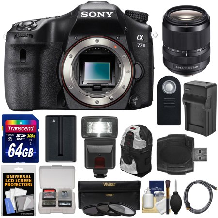 Sony Alpha A77 II Wi-Fi Digital SLR Camera Body with 18-135mm Lens + 64GB Card + Battery + Charger + Backpack... by