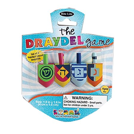 Plastic Dreidel - Rite Lite Coloful Stylistic Wood Dreidel Set, 4 count